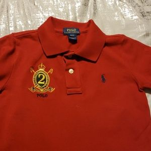 """Polo boys red nautical crested """"2"""" casual shirt"""